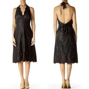 WHBM Black Satin Eyelet Empire Waist Halter Dress